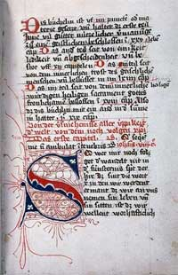 Page from 15th c. manuscript of The Imitation of Christ